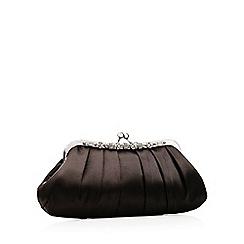 No. 1 Jenny Packham - Black floral frame embellished satin clutch bag