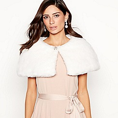 No. 1 Jenny Packham - Cream faux fur diamante brooch cape