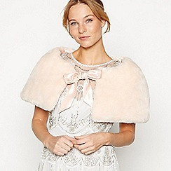 No. 1 Jenny Packham - Pale pink faux fur bow shrug