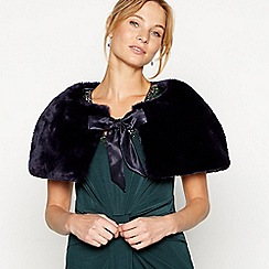 No. 1 Jenny Packham - Navy faux fur bow shrug