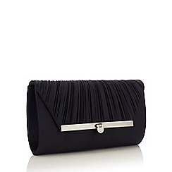 Debut - Navy Satin Ruched Bar Clutch Bag