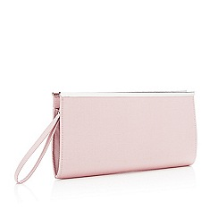 Debut - Pink Zip Top Grosgrain Clutch Bag