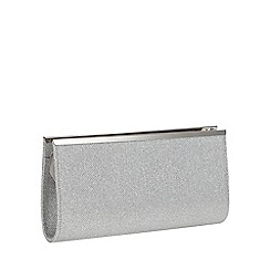 Debut - Silver Glitter Zip Top Grosgrain Clutch Bag
