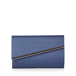 Debut - Navy grosgrain metal bar clutch bag