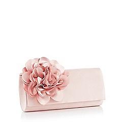 Debut - Light Pink Floral Corsage Satin Clutch Bag