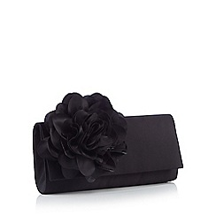 Debut - Black Floral Corsage Satin Clutch Bag