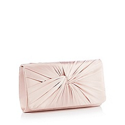 Debut - Light Pink Knotted Satin Clutch Bag