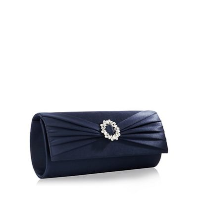 Debut   Navy Brooch Ruched Clutch Bag by Debut
