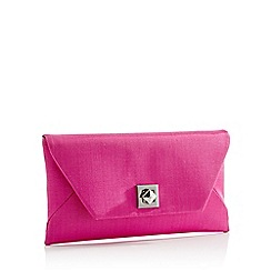 Debut - Bright Pink Grosgrain Envelope Clutch Bag