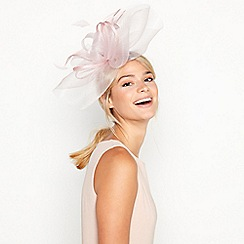 Debut - Pink Mesh and Feather Bow Cloud Fascinator
