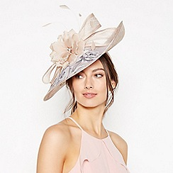 Debut - Pink Floral Print Feather and Bow Saucer Fascinator d63f6ef9182