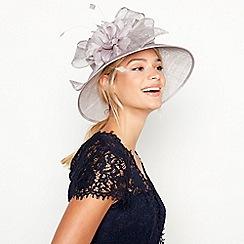 Debut - Grey Shimmer Bow Flower Downbrim Hat