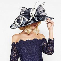 Debut - Navy Floral Overlay Wide Brim Hat