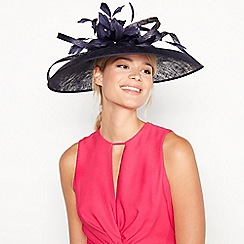 Debut - Navy Feather Floral Saucer Hat