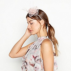 6c55fa0aa33 Debut - Pink Metallic Flower and Feather Fascinator