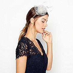 Debut - Natural Metallic Flower and Feather Fascinator