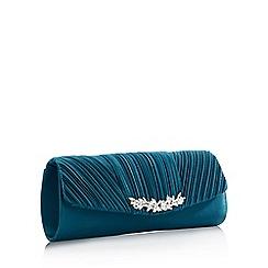 No. 1 Jenny Packham - Green Triple Pleat Embellished Bar Clutch Bag