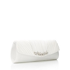 No. 1 Jenny Packham - Ivory Triple Pleat Embellished Bar Clutch Bag