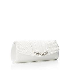 No. 1 Jenny Packham - Ivory Triple Pleat Embellished Bar Clutch Bag