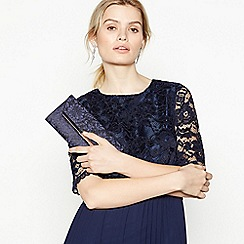 No. 1 Jenny Packham - Navy Glitter Lace Clutch Bag