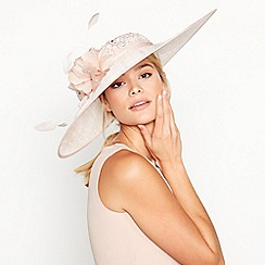 No. 1 Jenny Packham - Pink Lace Overlay Flower and Feather Downbrim Hat