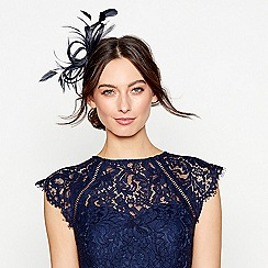 Debut - Navy loop & feather hair clip fascinator