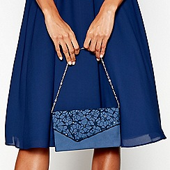 Debut - Navy sequinned lace clutch bag