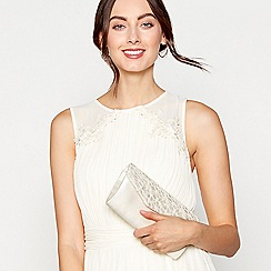 Debut - Ivory sequinned lace clutch bag