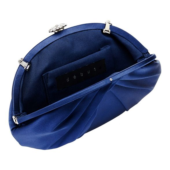 clutch flower Navy trim bag diamante Debut OxBwR