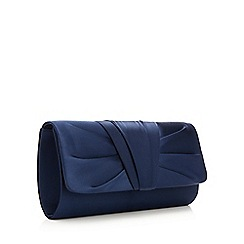 Debut - Navy ruched pleat clutch bag