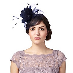 Principles Navy Feather Flower Fascinator