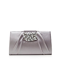 No. 1 Jenny Packham - Grey satin embellished clutch bag