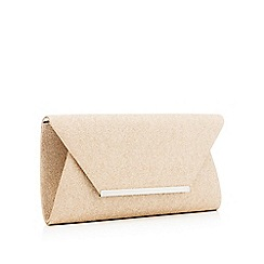 Debut - Gold glitter envelope clutch bag