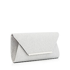 Debut - Silver glitter envelope clutch bag