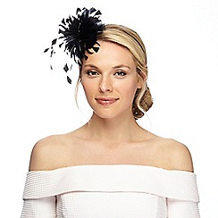 087010897860: Black curled feather fascinator