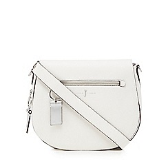 J by Jasper Conran - White front zip detail saddle bag