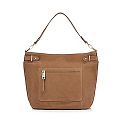 J by Jasper Conran - Taupe nubuck zip detail shoulder bag