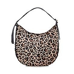 J by Jasper Conran - Leopard print circle stud hobo bag