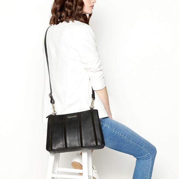 Black cross John panel bag leather RJR Rocha body stripe fFqE7w