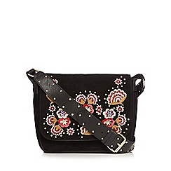 Nine by Savannah Miller - Black suede floral embroidered cross body bag
