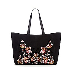 Nine by Savannah Miller - Black suede floral embroidered shopper bag