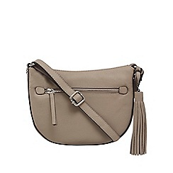 The Collection - Grey leather half moon cross body bag