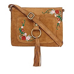 Mantaray - Tan suede tassel cross body bag