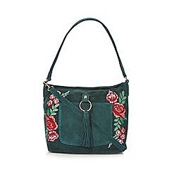 Mantaray - Dark green suede embroidered shoulder bag
