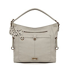 Mantaray - Light grey ring zip hobo bag