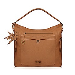 Mantaray - Light tan ring zip hobo bag