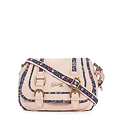 Mantaray - Pink floral inlay double buckle cross body bag