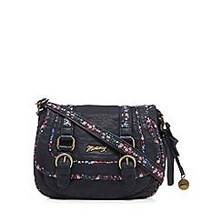 Mantaray - Navy floral inlay double buckle cross body bag