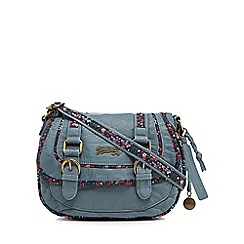 Mantaray - Light blue floral inlay double buckle cross body bag