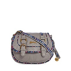 Mantaray - Grey floral inlay double buckle cross body bag